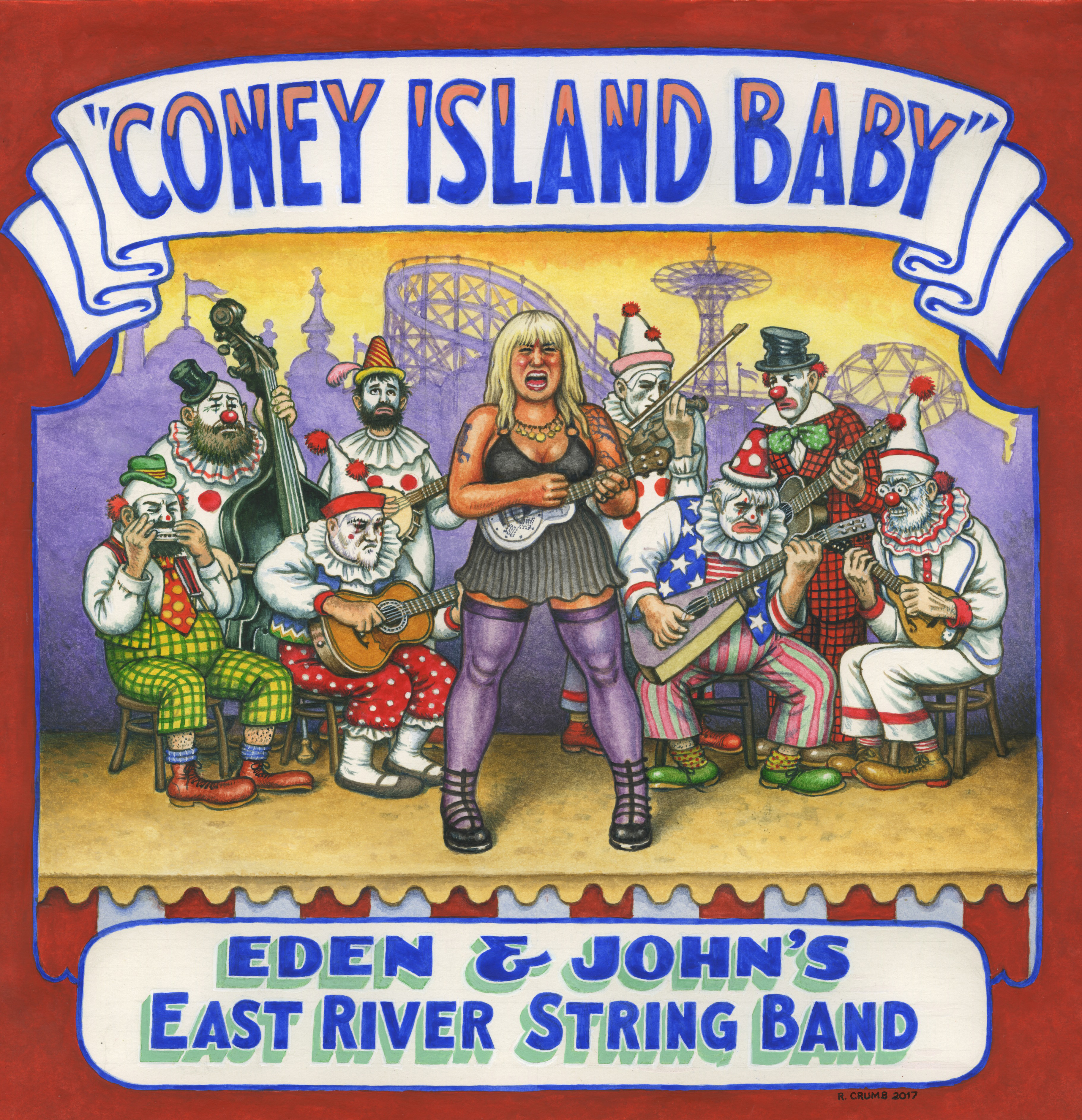 r. crumb eden brower john henghan east river string band coney island baby lp cover drawing