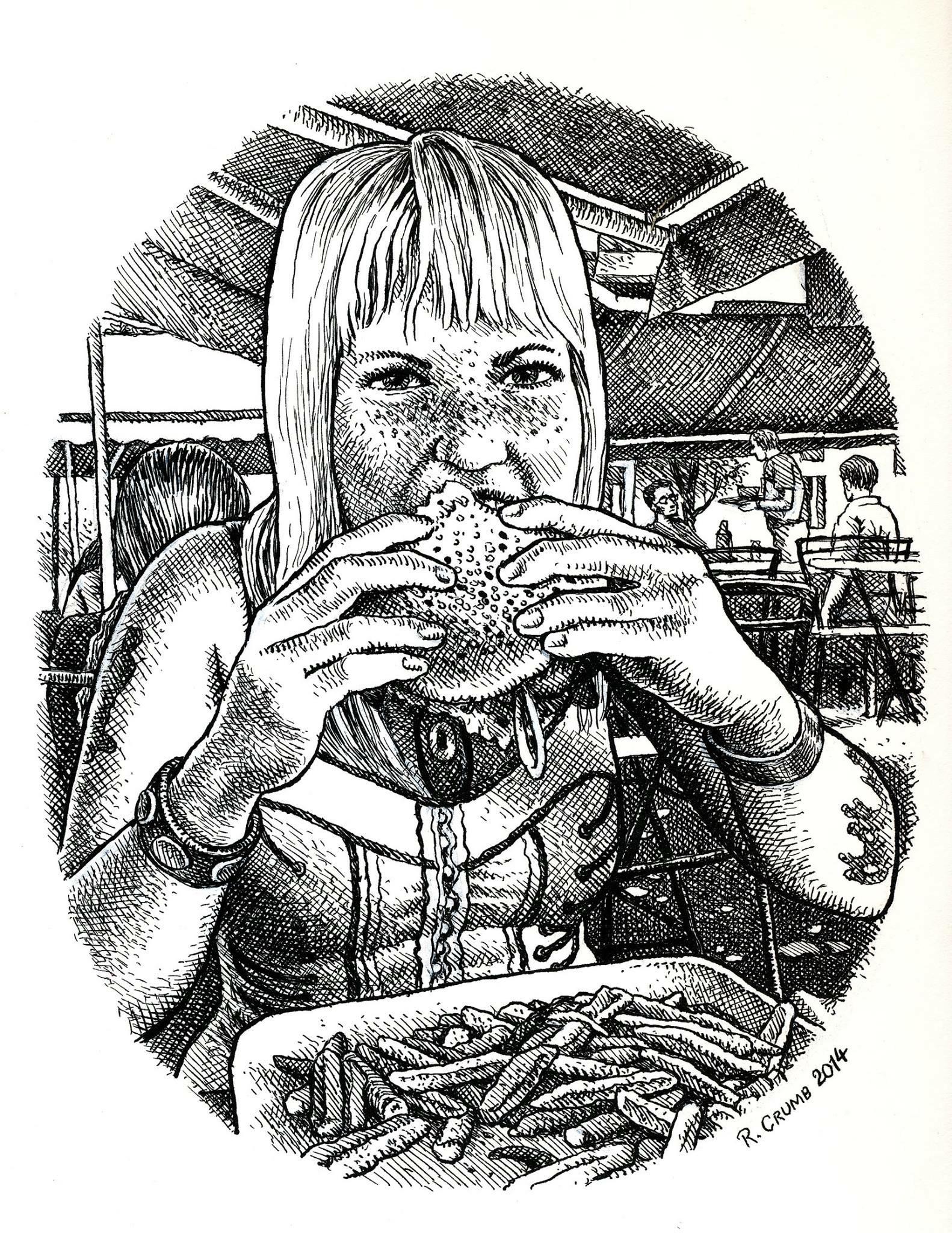 eden brower eating burger r. crumb drawing art & beauty