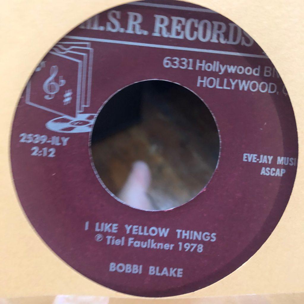 m.s.r. 2539 i like yellow things bobbi blake 45 rpm song-poem