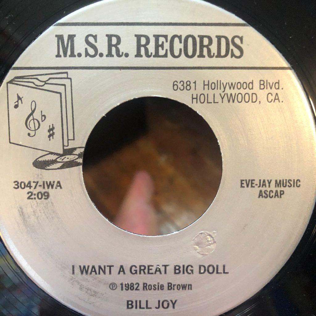 m.s.r. 3047 i want a great big doll bill joy 45 rpm song-poem