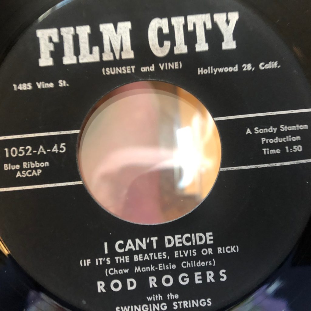 rod roger rodd keith film city 1052 I can't decide 45 rpm song-poem
