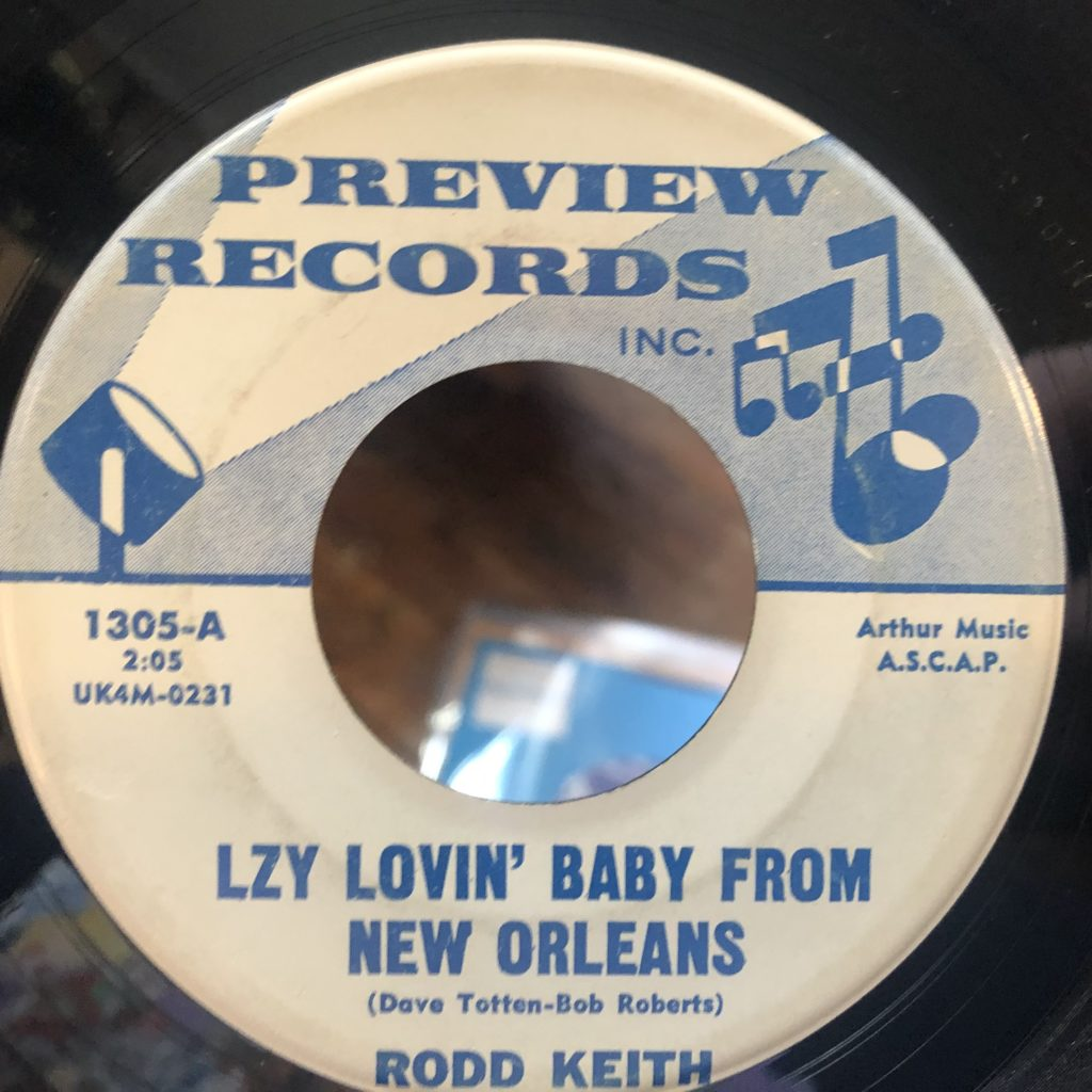preview 1305 rodd keith lzy lovin' baby from new orleans 45 rpm song-poem