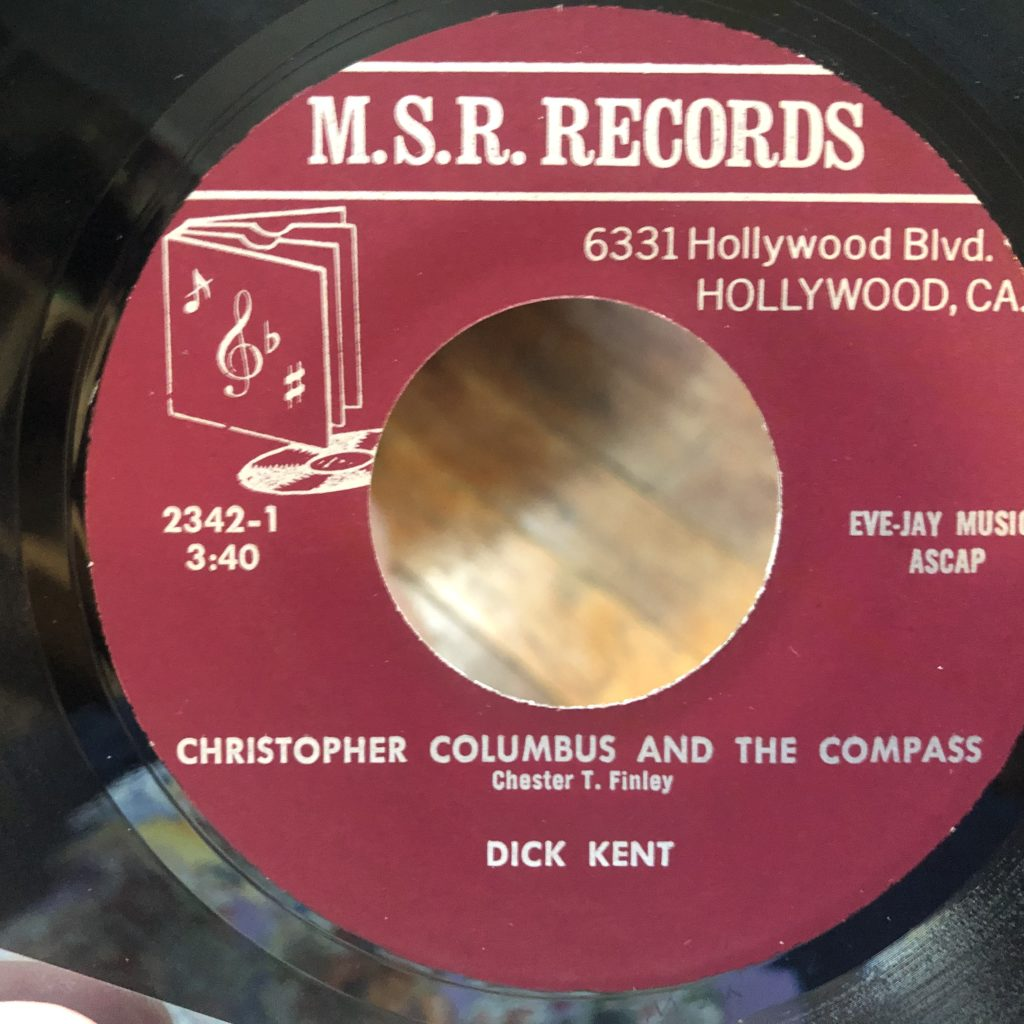 msr 2342 dick kent christopher columbus 45 rpm song-poem