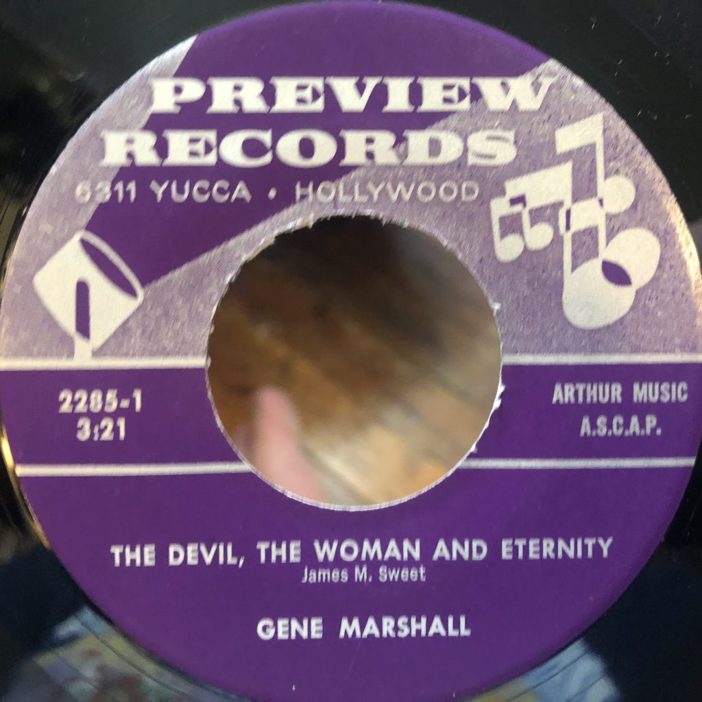 preview 2285 the devil the woman and eternity gene marshall 45 rpm song-poem