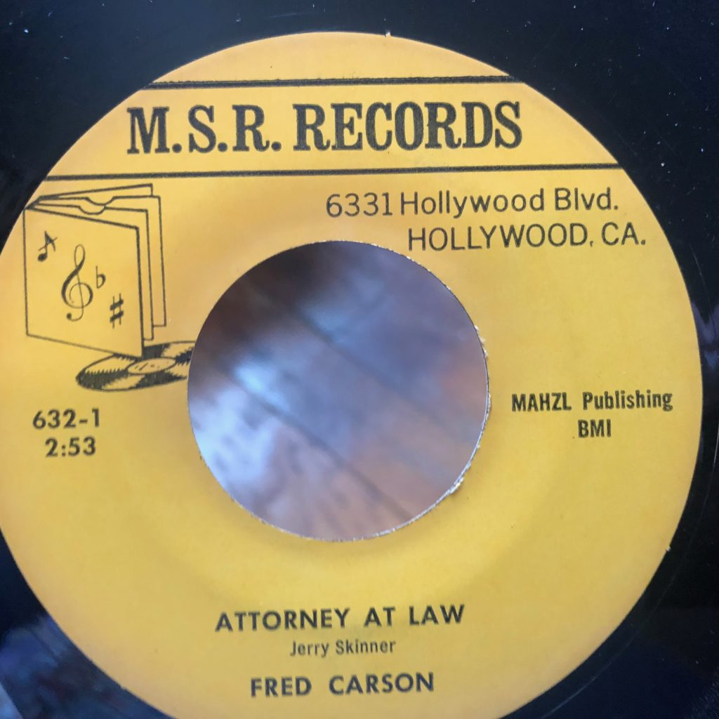 m.s.r. 632 attorney at law fred carson 45 rpm song-poem