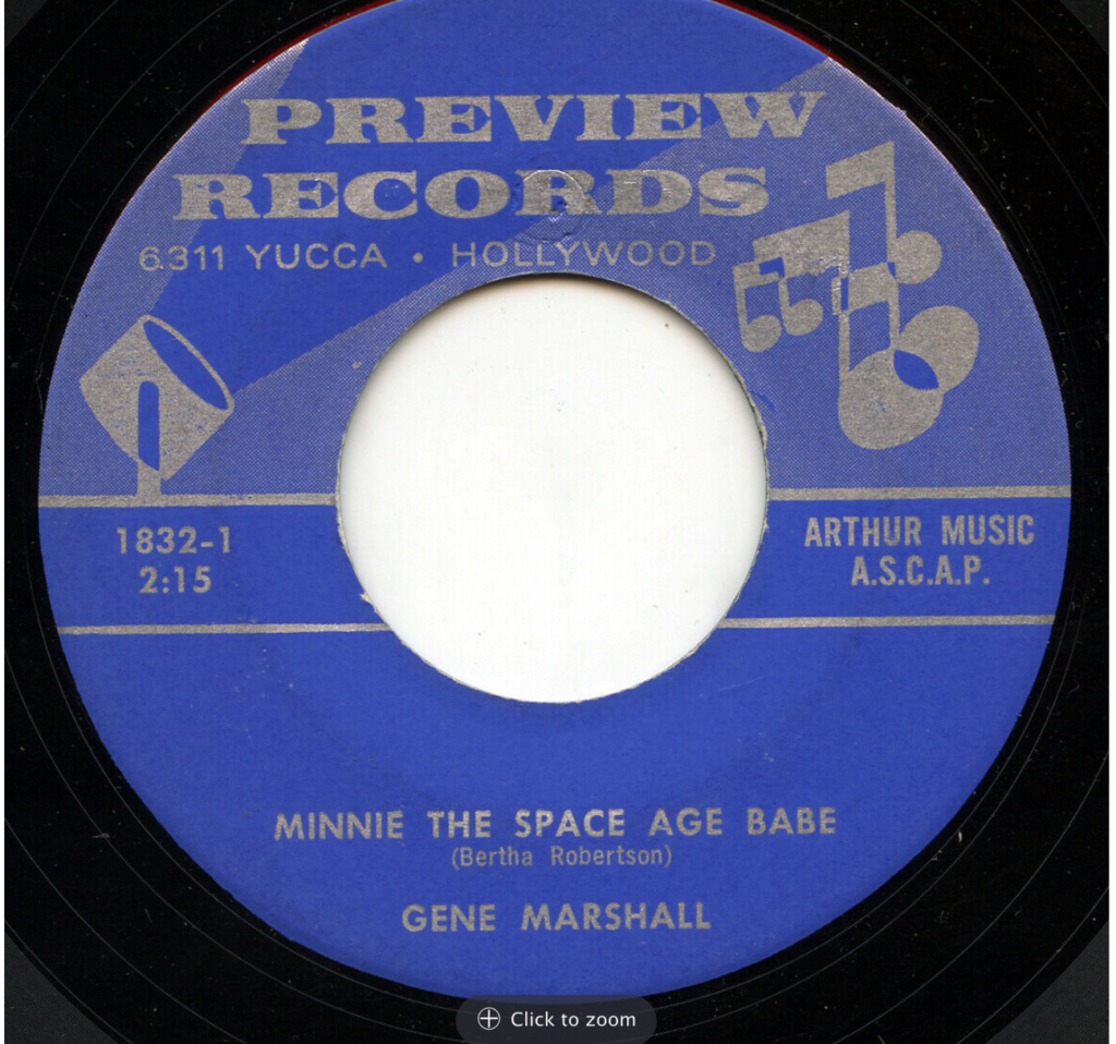 preview 1842 gene marshall minnie the space age babe 45 rpm song-poem