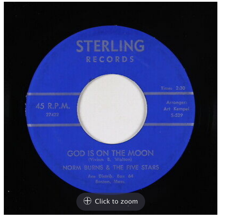 sterling 529 god is on the moon norn burns 45 rpm song-poem