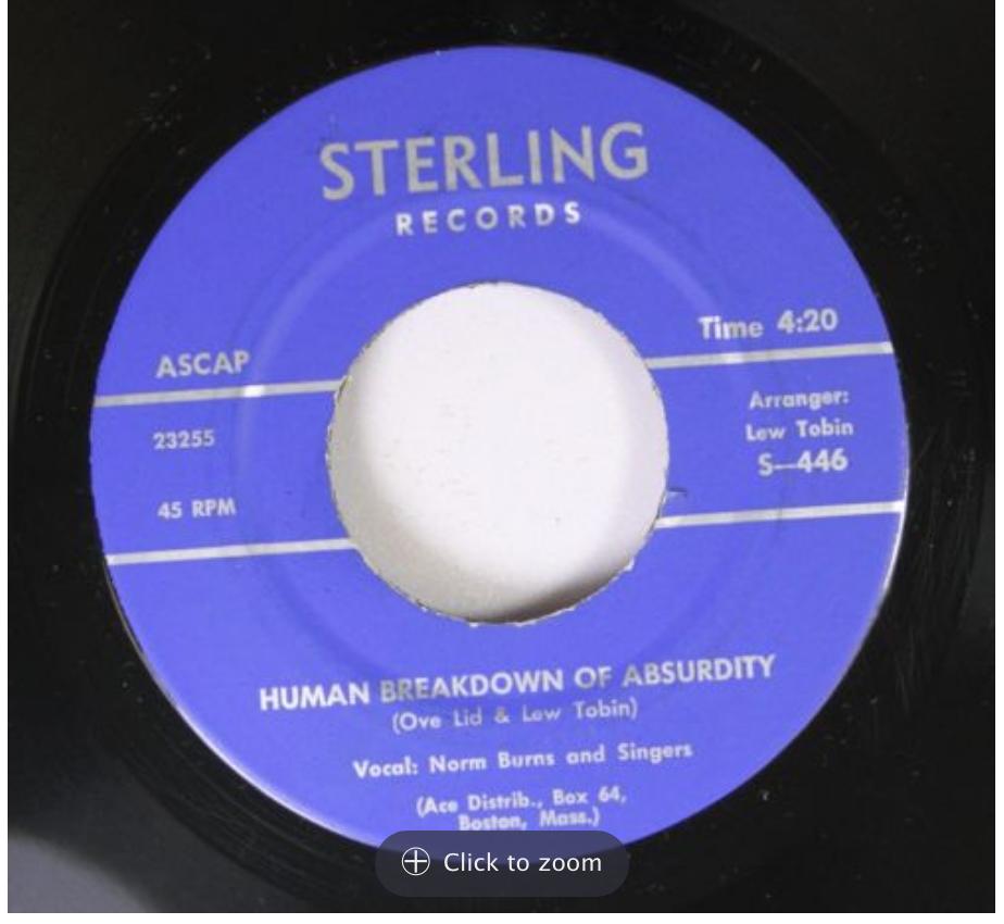 sterling 446 norm burns human breakdown of absurdity 45 rpm song-poem
