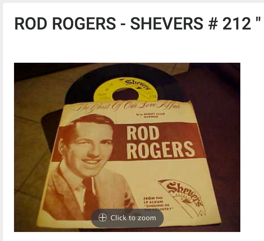 rod rogers rodd keith shevers 212 45 rpm song-poem